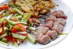 鲱鱼内圆角用土豆和菜 库存图片