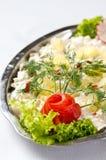 鲱鱼沙拉盘 免版税图库摄影