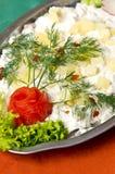 鲱鱼沙拉盘 库存照片