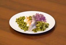 鲱鱼油蔬菜 库存图片