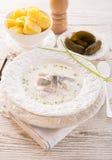 鲱鱼用土豆和奶油 免版税图库摄影