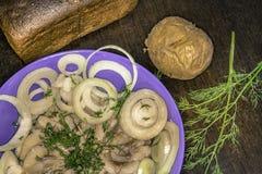 鲱鱼用土豆 库存图片