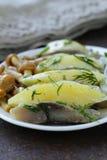 鲱鱼,煮的土豆,被腌制的蘑菇开胃菜  库存照片
