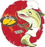 鲶鱼厨师油炸物 向量例证