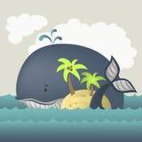鲸鱼和海岛在蓝色海 库存图片