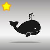 黑鲸鱼象按钮商标优质标志的概念 库存图片