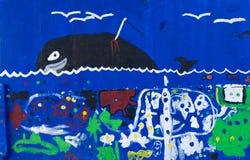 鲸鱼 儿童海题材街道画1的细节 免版税库存图片