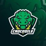 鳄鱼吉祥人商标与现代例证概念样式的设计传染媒介徽章、象征和T恤杉打印的 顶头鳄鱼 向量例证