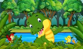 鳄鱼在森林里 向量例证
