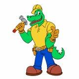 鳄鱼安装工吉祥人-鳄鱼工作者 向量例证