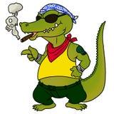 鳄鱼抽烟 免版税库存图片