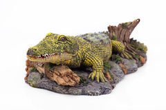鳄鱼的雕象 库存照片