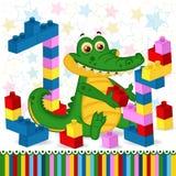 鳄鱼建筑塑料块 库存照片