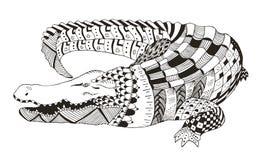 鳄鱼zentangle传统化了,导航,例证,样式 免版税库存照片