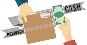 鳕鱼在灰色标记的服务传染媒介的货到付款 库存照片