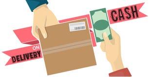 鳕鱼在红色标记的服务传染媒介的货到付款 库存图片