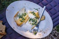 鳕鱼烤了海鲜,室外板材服务内圆角  免版税库存图片