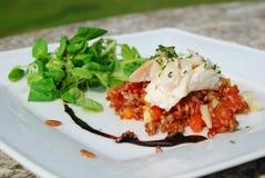 鳕鱼烹调美食的意大利米沙拉 库存照片