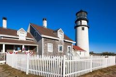 鳕鱼角高地灯塔在马萨诸塞 免版税库存照片
