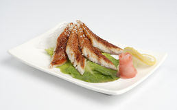 鳗鱼生鱼片 免版税图库摄影