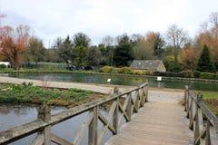 鳟鱼农场在一个农村英国旅游村庄 免版税图库摄影