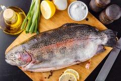 鳟鱼在一个切口木板上花费了未加工用香料、草本、盐、柠檬和橄榄油 顶视图 免版税图库摄影