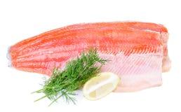 鳟鱼在白色背景隔绝的鱼片 免版税库存图片