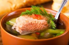 鳟鱼汤 免版税图库摄影