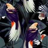 鸟、兰花和夜密林无缝的背景 免版税库存照片