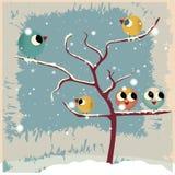 鸟和一棵赤裸树 向量例证