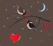 鸟和心脏华伦泰卡片传染媒介 库存图片