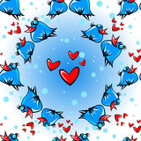 鸟和心脏无缝的样式 库存例证