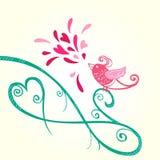 鸟和心脏装饰 库存照片
