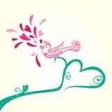 鸟和心脏装饰 免版税库存图片