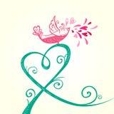 鸟和心脏装饰 免版税图库摄影
