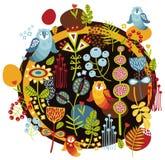 鸟和花印刷品。 免版税库存图片