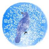 鸟和花在水彩背景。手拉的传染媒介我 免版税库存照片