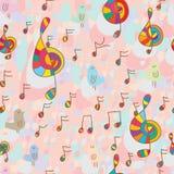 鸟和音乐无缝的样式 向量例证