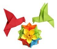 鸟哼唱着origami 库存图片