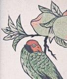 鸟国画寺庙墙壁 库存照片