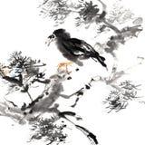 鸟国画 皇族释放例证