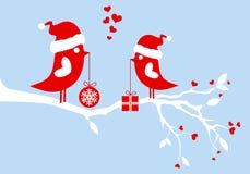鸟圣诞老人向量 库存图片