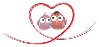 鸟在心脏形状结合 库存例证
