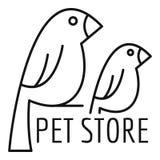 鸟宠物商店商标,概述样式 库存例证