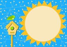 鸟房子和太阳邀请卡片 图库摄影