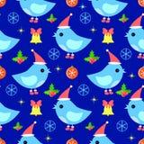 鸟无缝的新年样式 免版税库存图片