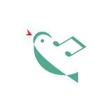 鸟曲调-传染媒介商标概念例证 最小的样式 音乐商标概念 传染媒介商标模板 免版税库存图片