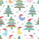鸟树圣诞节线无缝的样式 免版税库存图片