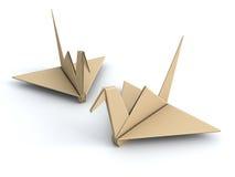 鸟概念起重机origami纸张和平 免版税库存照片