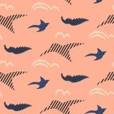 鸟现出轮廓抽象无缝的传染媒介样式 皇族释放例证